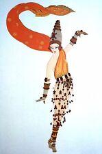 Erte 1987 ARABIAN NIGHTS PERSIAN DANCER in ORANGE SCARF Art Deco Matted Print