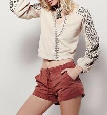 3987 Nwd Free People Senorita Embroidered Beige Cotton Blouse Pullover Top S 6