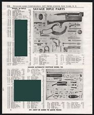 1952 SAVAGE 99 Rifle and 720 Automatic Shotgun Parts List AD