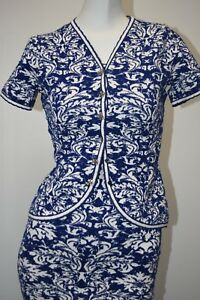 NEW Oscar de la Renta SET Of Filigree Lace Knitted DRESS & Jacket Blue White S