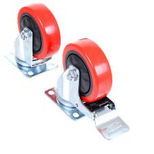 """100mm 4"""" Heavy Duty Rubber Swivel Castor Wheels Set Trolley Caster Brake 600KG"""
