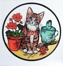 Static Window Clings in a Kitten and Geraniums Design.