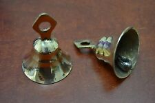 "2 PCS HANDMADE COW GOAT SHEEP SOLID BRASS BELLS 3"" #T-221"