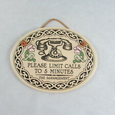 Trinity Pottery Please Limit Calls to 5 Minutes Ceramic Wall Plaque Hanging USA