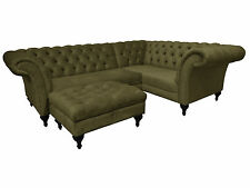 Chesterfield Corner Pewter Velvet Sofa and footrest.