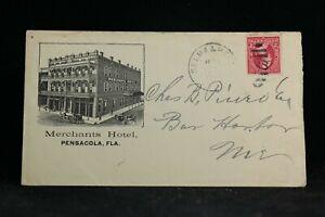 Florida: Pensacola 1900 Merchants Hotel Ad Cover, Selma & Pensa RPO Cancel