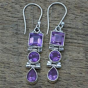 925 Silver Amethyst Wedding Engagement Drop Dangle Hoop Earrings Vintage Jewelry
