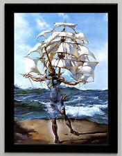 Salvador Dali Caravela framed canvas print giclee 8X12 reproduction art poster