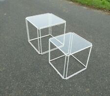 "TWO ""ISOCELE"" TABLES BY MAX SAUZE ALTROW 1970 VINTAGE WHITE MID CENTURY CRAPHIC"