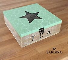 Karla - Geometric Wooden Tea Box with 9 Compartments Star Glass Top (Green)