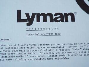 Lyman TURBO 600 & TURBO 1200 Reloading Case Polishing System INSTRUCTIONS