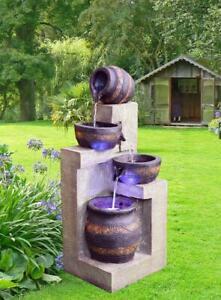 Solar Power Cascading Terra Bowls Solar Water Fountain with LED Light 4-tier 415