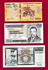 BURUNDI UNC NOTES: 100 Francs 2011 P-44, 500 Fr. 2015 P-50, & 1000 Fr. 2009 P-46