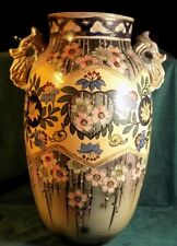 """ANTIQUE ASIAN PORCELAIN DRAGON HANDLED VASE HAND PAINTED FLOWERS JAPAN 16"""" TALL"""