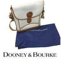 Vtg Dooney & Bourke All Weather Leather R11 Dover Case Bag Purse Bone Off White