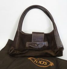 TOD'S BROWN SUEDE & LEATHER HOBO SHOULDER HANDBAG with DUST BAG $1250 retail