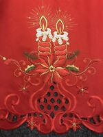 """Red Christmas Embroidered 72"""" Round Thick Fabric Embroidery Tablecloth Napkins"""