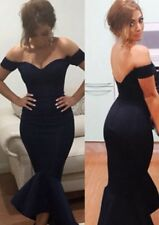 NEW OFF SHOULDER NAVY MERMAID PEPLUM FISHTAIL MIDI DRESS SIZE 10-12-14-16-18
