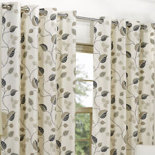 Eyelet Curtains April Leaf Fully Lined Taupe