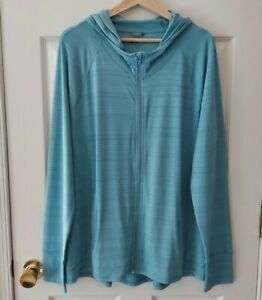 Athleta Womens Blue Pacifica Illume UPF Relaxed Zip Front Jacket Size XL TALL