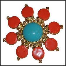 Stunning Coral & Turquoise brooch by Replica Collection
