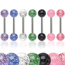 7 Pack of Surgical Steel Tongue Bars / Nipple Barbells With Ultra Glitter Balls