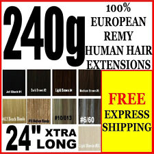 """EXTRA THICK FULL HEAD 24"""" INCH LONG CLIP IN 100% REMY HUMAN HAIR EXTENSIONS"""
