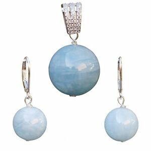 12-15mm Naturual Aquamarine stone Sterling silver S925 Pendant earring dangle