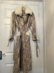 Towie Coat Faux Fur Snake Glam Stylish BNWT Jayley MADDIE Jacket Belted RRP £200