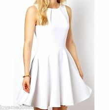 Womens Casual Celebrity Club Party Wear to Work Flared Skater Dress WHITE Small