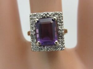 14K White Gold Amethyst Diamond Ring 1.80 CT