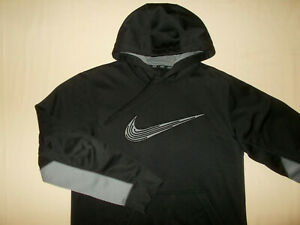 NIKE THERMA-FIT BLACK HOODED SWEATSHIRT MENS SMALL EXCELLENT CONDITION