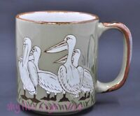 Otagiri Pelican Bird Mug Japan Coffee Cup Green Vintage Sea Bird