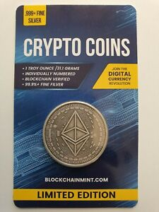 Ethereum Antiqued 1oz 999 Silver Bullion Coin with Card ERROR 2020 Crypto Series