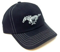 FORD MUSTANG CLASSIC PONY LOGO BLACK STITCH CURVED BILL ADJUSTABLE HAT CAP RETRO