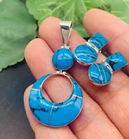 NWT Turquoise 950 Sterling Silver  Earrings & Pendant set from Taxco Mexico