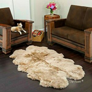 Shag Faux Fur Area Rug, Quatro, Thick, Faux Flokati Sheepskin Pelt, Fleece, USA