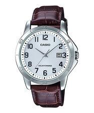 Casio MTP-VS02L-7B Men's Standard Solar Leather Band Grey Dial Date Watch