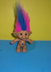 Vintage 1998 Treasure Troll Doll with Blue Wishstone and Blue and Pink Hair