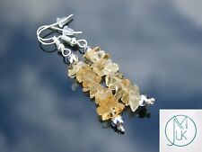 Citrine Natural Chip Gemstone Earrings Drop Quartz Crystal Chakra Healing Stone