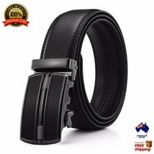 XHTang Men's Balck Automatic Buckle Belt Genuine Leather Waistband Jeans Gift