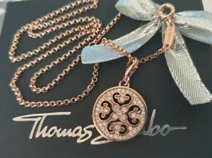 Thomas Sabo Kette Rose Vergoldet & Ornament Scheibe Charm Anhänger Neu