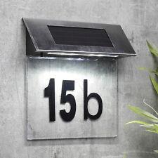 LED Solar Hausnummern-Leuchte Edelstahl beleuchtet Beleuchtung Hausnummer-Lampe