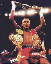 FELIX TRINIDAD  8X10 PHOTO BOXING PICTURE 3 BELTS IN VICTORY