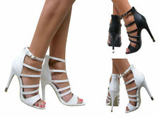 Leather Stiletto Prom Strappy Heels for Women