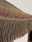 Antique Vintage Fringed Embroidered Textile Theater Valance French Victorian
