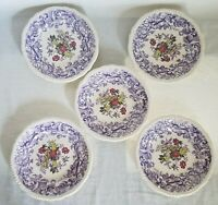 """5 - Spodes Mulberry Beverly Purple Bread Plates or Salad Plates 7.75"""" Purple"""
