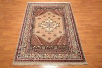 """6'11"""" x9'8"""" Wool Foundation Hand Knotted Authentic Turkish Oriental Area Rug Tan"""