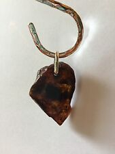 Red Amber Raw Pendant On Sterling Silver by BleuVerd Group