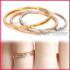 9CT PLAIN GOLD GF LADIES GIRLS SOLID WEDDING ETERNITY DRESS BAND RINGS SET GIFT